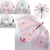 Зонтик детский со свистком от дождя ветрозащитный разноцветный прозрачный 79см Profi (MK 4145)