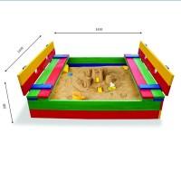 Детская песочница 1,45х1,45м со скамейками SportBaby (Песочница-11)