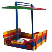 Детская песочница Машинка 1,45х1,45м с навесом и крышкой SportBaby (Песочница-12)