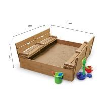Детская песочница 2х2м с крышкой и скамейками SportBaby (Песочница-31)