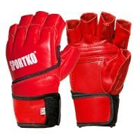 Перчатки с открытыми пальцами кожаные Sportko (ПК-4)