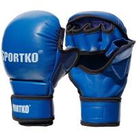 Перчатки с открытыми пальцами кожаные Sportko (ПК-7)