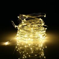 Гирлянда новогодняя (украшение на елку) на батарейках светодиодная на 50 ламп для дома Yellow 5м Stenson (R28227)