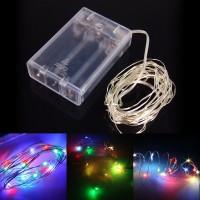 Гирлянда новогодняя (украшение на елку) на батарейках цветная светодиодная 50 ламп для дома 5м Stenson (R28233)