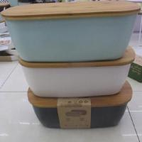 Хлебница (хлебник) для хранения продуктов бамбуковая с крышкой для кухни 36x20,4см Stenson (R28417)