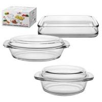 Огнеупорная посуда (термостекло) набор кастрюль стеклянных 3шт Stenson (MS-0079)