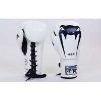Перчатки боксерские кожаные на шнуровке VENUM 10,12,14 унций (VL-5786)