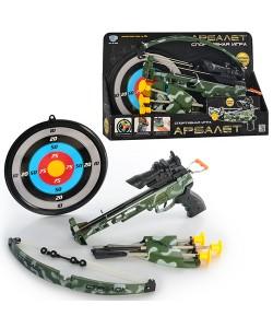 Игрушка арбалет со стрелами, прицелом, лазером, мишенью и колчаном Limo Toy (M 0488), , M 0488, LIMO TOY, Детские игрушки