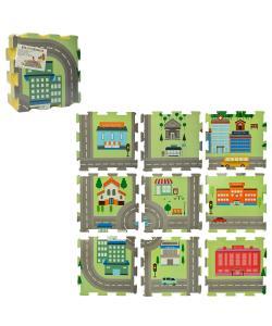 Детский развивающий игровой коврик - пазл для ползания (теплый пол) OBABY разборной 9шт Городок (M 5801), 20425, M 5801, OBABY, Пазлы для детей