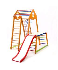 Детский спортивный комплекс 130х130х170см SportBaby (BambinoWood Plus 1-1), 19888, BambinoWood Plus 1-1, SportBaby, Детский спортивный уголок (комплекс)