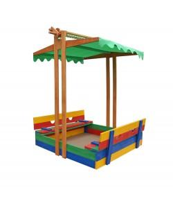 Детская песочница 1,45х1,45м с навесом и крышкой SportBaby (Песочница-10), 19788, Песочница-10, SportBaby, Детские игровые комплексы