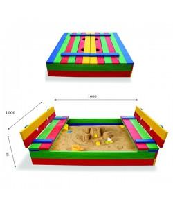 Детская песочница 1х1м с крышкой и скамейками SportBaby (Песочница-29), , Песочница-29, SportBaby, Детские игровые комплексы