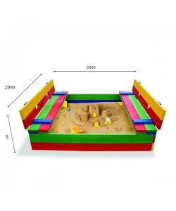Детская песочница 2х2м с крышкой и скамейками SportBaby (Песочница-30), , Песочница-30, SportBaby, Детские игровые комплексы