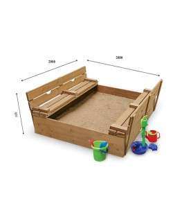 Детская песочница 2х2м с крышкой и скамейками SportBaby (Песочница-31), , Песочница-31, SportBaby, Детские игровые комплексы