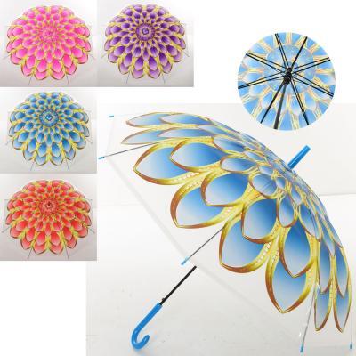 Зонтик детский подростковый от дождя ветрозащитный разноцветный прозрачный (яркий цветок) 92см Profi (MK 4112)