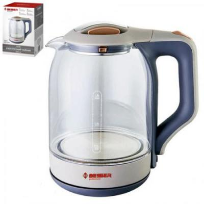 Чайник электрический стеклянный прозрачный с подсветкой 1.8л 1800w Besser (10190)