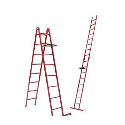 Лестница универсальная металлическая Mastertool 5 ступеней со столиком 79-1015
