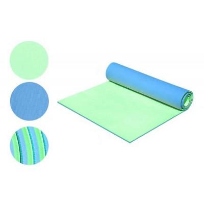 Коврик пенка для туризма и фитнеса двухслойный (D-2118-bl-green), 8мм
