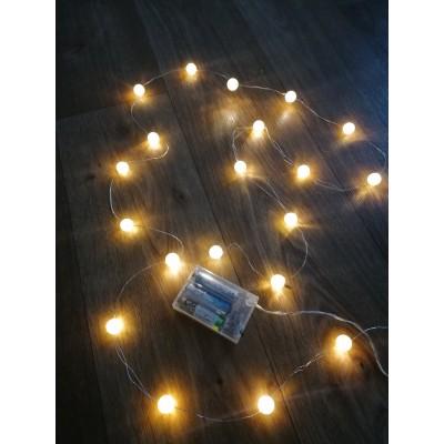 Гирлянда новогодняя (украшение) на батарейках пластиковая светодиодная на 20 лампочек для дома Yellow (R28275)