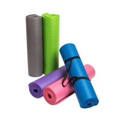 Коврик-Мат для йоги и фитнеса из вспененного каучука OSPORT Premium NBR 1,5см с ручкой (FI-0135)