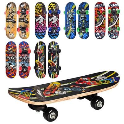 Скейт (скейтборд) детский деревянный для трюков 43х13см Profi (MS 0324-1)