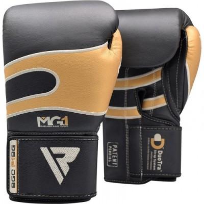 Боксерские перчатки RDX Leather Black Gold 40249