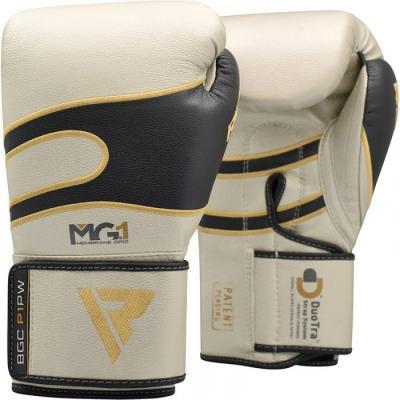 Боксерские перчатки кожаные перламутрово-белые RDX (40247)