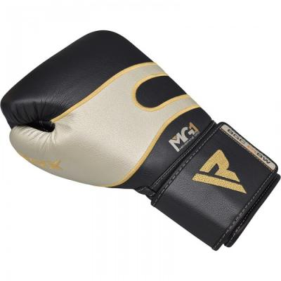 Боксерские перчатки кожаные черно-белые RDX (40248)