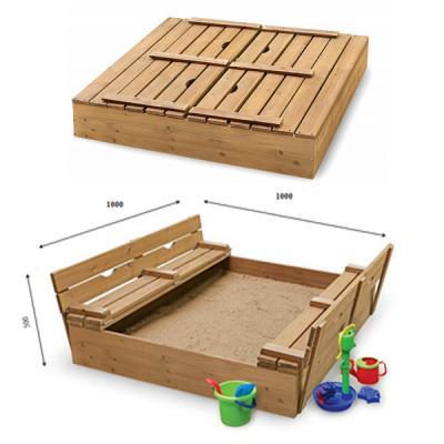 Детская песочница 1х1м с крышкой и скамейками SportBaby (Песочница-28)