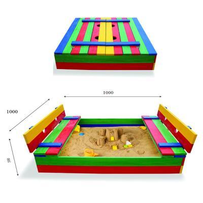 Детская песочница 1х1м с крышкой и скамейками SportBaby (Песочница-29)