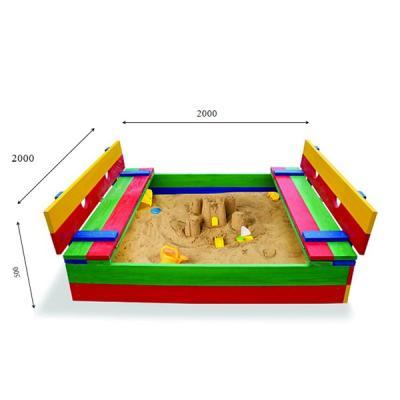 Детская песочница 2х2м с крышкой и скамейками SportBaby (Песочница-30)