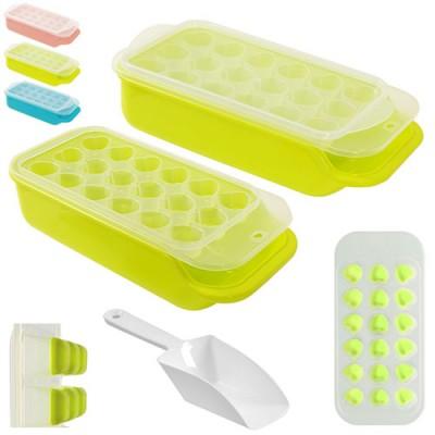 Форма (емкость) для льда силиконовая для кухни с контейнером и лопаткой Сердечки 25x11см Stenson (R21070)
