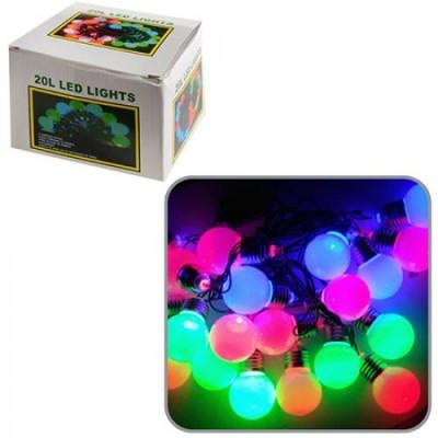 Гирлянда новогодняя (украшение) разноцветная пластиковая на 20 лампочек для дома Лампочки цоколь 3.5м (R82846)