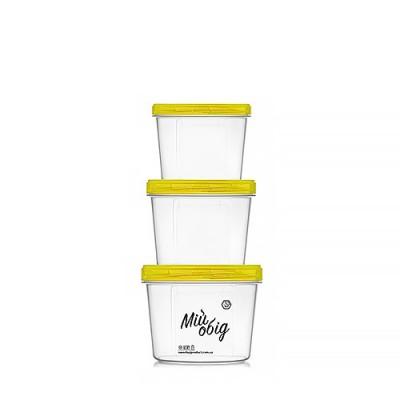 Судки пластиковые (набор контейнеров) для еды пищевой судочек с резьбой 3шт Stenson (NP-70ж)