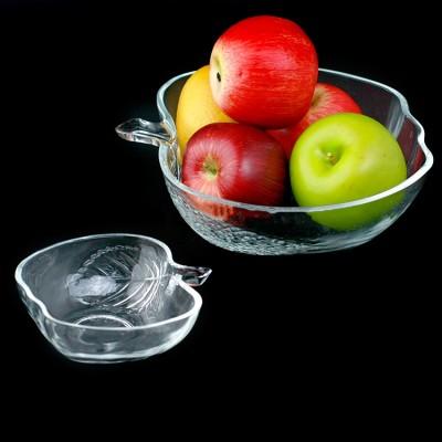 Салатник стеклянный (салатница для пищи) глубокая для кухни Яблочко 13см Stenson (R85578)