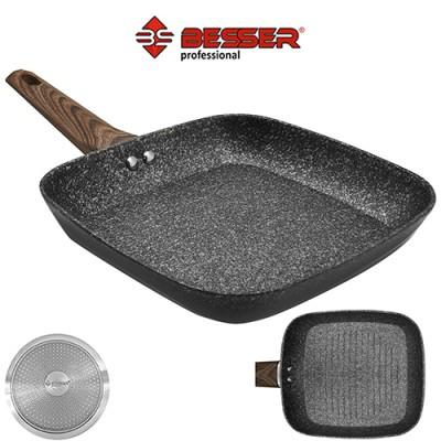 Сковорода - грильница алюминиевая с антипригарным покрытием 24*4см с индукционным дном квадратная Wooden Stenson (10299)