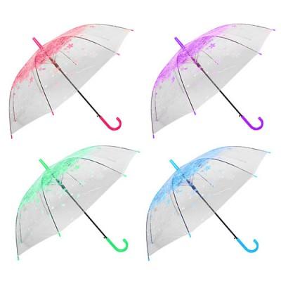 Зонт-трость полуавтомат (зонтик женский) от дождя ветрозащитный прозрачный 60см Весна Stenson (R83140)