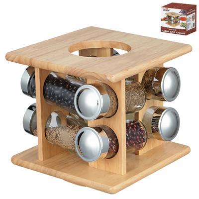 Набор баночек для специй (спецовница) на деревянной подставке 8 шт. 17.5*17.5*17см Stenson (MS-3819)