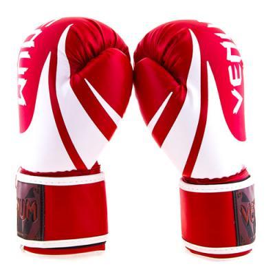 Боксерские перчатки из кожи PU 10 унций на лепучке Venum (VM2145-10R)