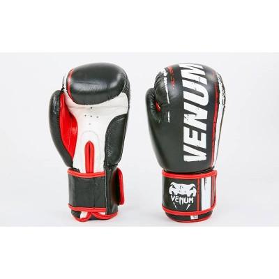 Перчатки боксерские (для бокса) кожаные на липучке 10-12oz VENUM (MA-6749)