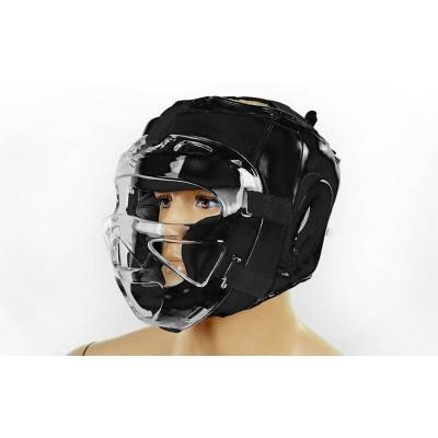 Шлем для единоборств (с прозрачной маской) кожа Zel ZB-5009