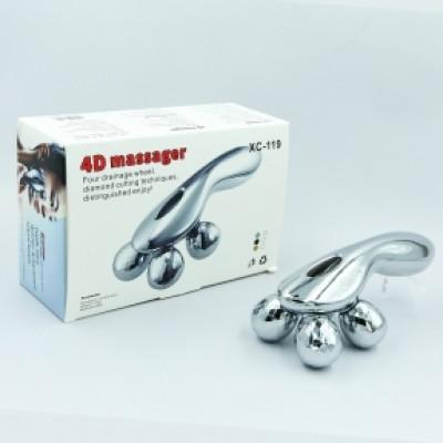 Массажер ручной роликовый для всего тела (рук, ног и спины) 4 шарика ABS пластик Zelart 4D MASSAGER (XC-119)