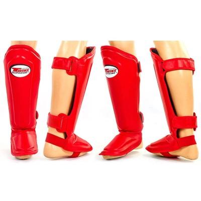 Защита для ног (голень+стопа) MMA Кожа TWINS SGL-10-BU (р-р S-XL, синий, красный)