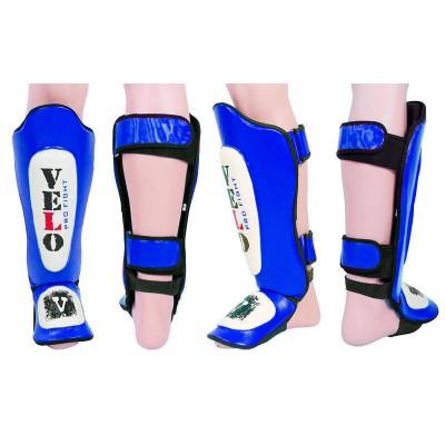 Защита для голени и стопы Муай Тай, ММА, Кикбоксинг кожаная VELO ULI-7021-B (р-р M-L, синий, красный)