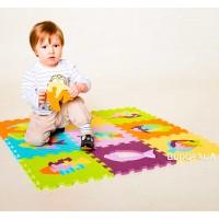 Детский игровой развивающий коврик-пазл (мозаика головоломка) М 0376 Profi 10шт. толщина 9мм