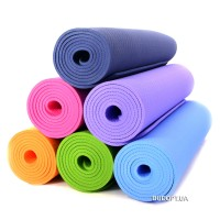 Коврик для йоги и фитнеса Zelart одноцветный TPE + TC 6мм
