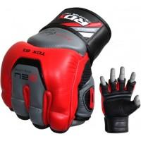 Снарядные перчатки, битки RDX Leather Red