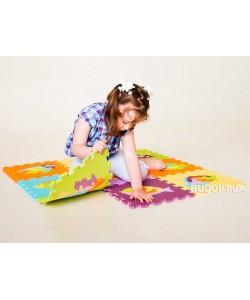 Детский игровой развивающий коврик-пазл (мозаика головоломка) М 0377 Profi 10шт. толщина 9мм