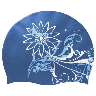 Силиконовая шапочка для плавания Spokey Stylo, синяя с узором