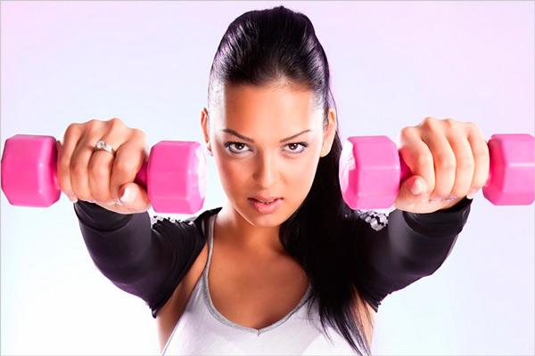 Виниловые гантели для фитнеса